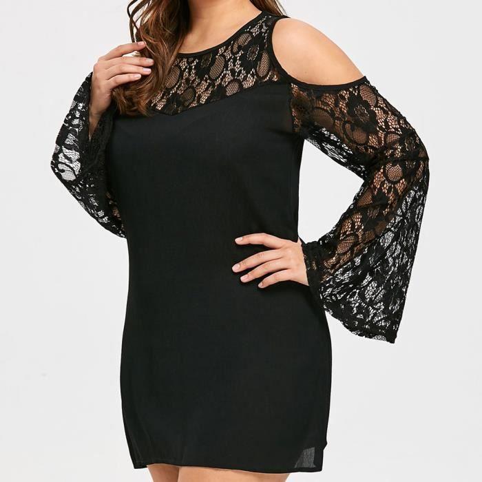 Napoulen®Femmes plus taille dentelle patchwork sans bretelles mini robe de soirée Noir XXP80111424