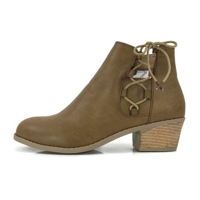 Holly Ankle Bootie Criss Cross Faux Leather Flat Heel Zipper QAUBO Taille-39 1-2