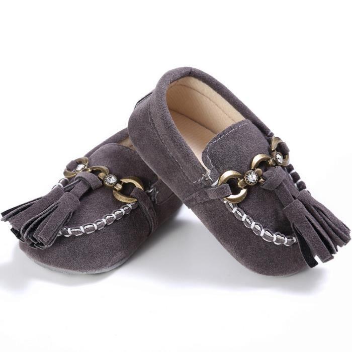 gris Slip Mignon Confort Tout Bb Anti Doux Chaussures Lit Mocassins On petits Prewalker 7XX46qw
