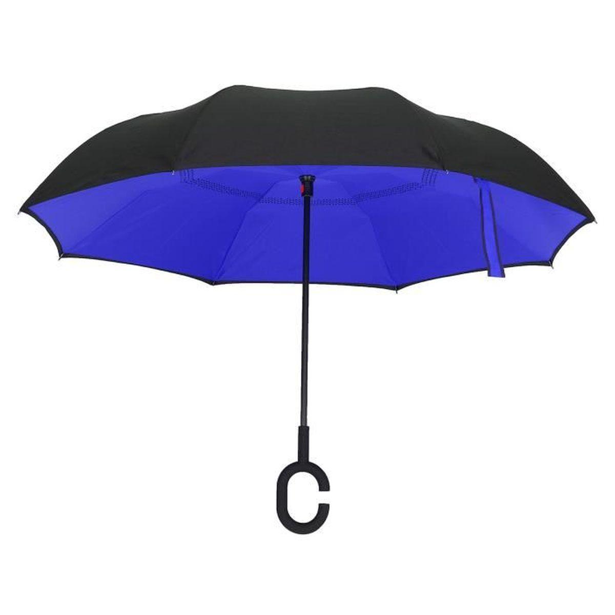 6 Couleurs Parapluie Parasol Pliant Inversé à Double Anti-UV Vent Pluie Soleil Dark Blue