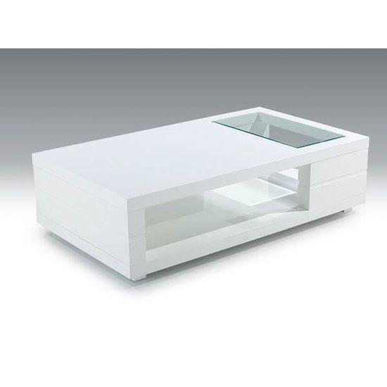 Table Basse Blanc Laque Et Plateau Verre Design Denisse L 120 X P 60 X H 40 Cm Blanc