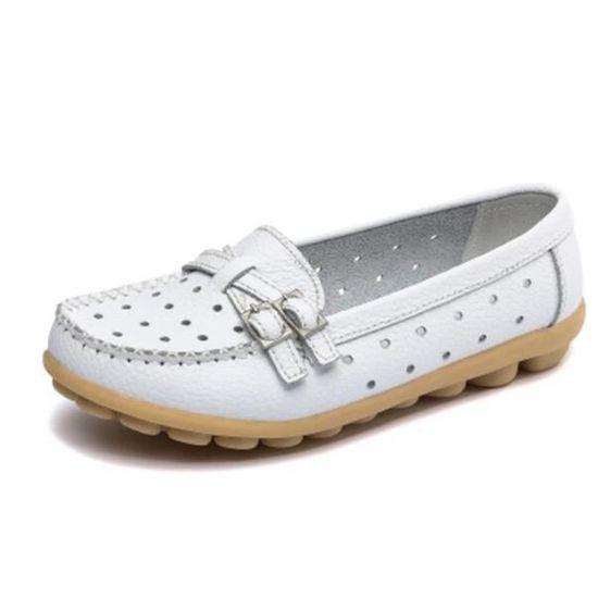 Moccasin femme 2017 ete nouvelle marque de luxe Pour femmes en cuir Chaussures Haut qualité Antidérapant Grande Taille 35 Blanc Blanc - Achat / Vente basket