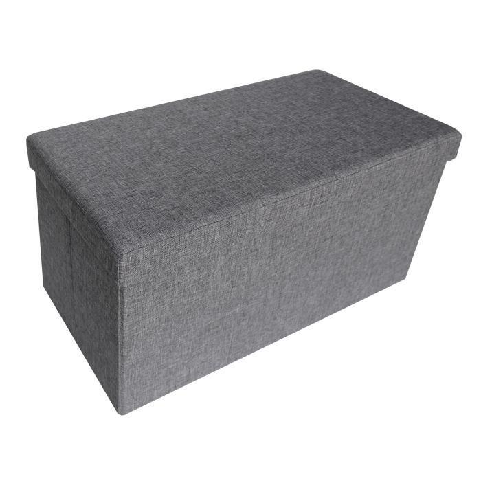 Cotton Wood Banc Coffre Pliable Effet Lin 76 X 38 X H38 Cm Gris