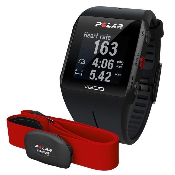 Montre GPS V800 avec coque en aluminium et en acier inoxydable, noir, affichage sur 4 lignes, écran HD, batterie rechargeable. Livré avec ceinture à capteur bleutoothMONTRE OUTDOOR - MONTRE MARINE