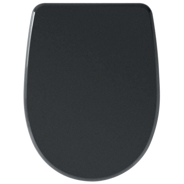 Abattant WC en MDF frein de chute noir déclipsable - Charnières en métal chromé - Fixations universelles.ABATTANT WC - REHAUSSEUR WC