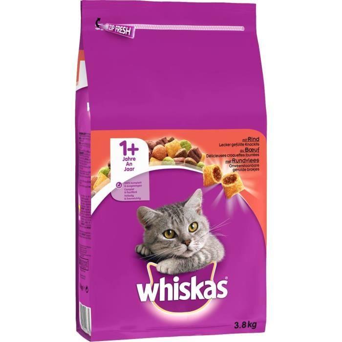 WHISKAS Croquettes au bŒuf - Pour chat adulte - 3,8 kg