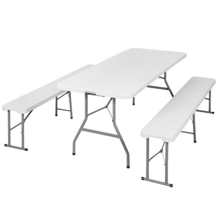 Table pliante 180cm valise + 2 bancs camping pique nique jardin ...