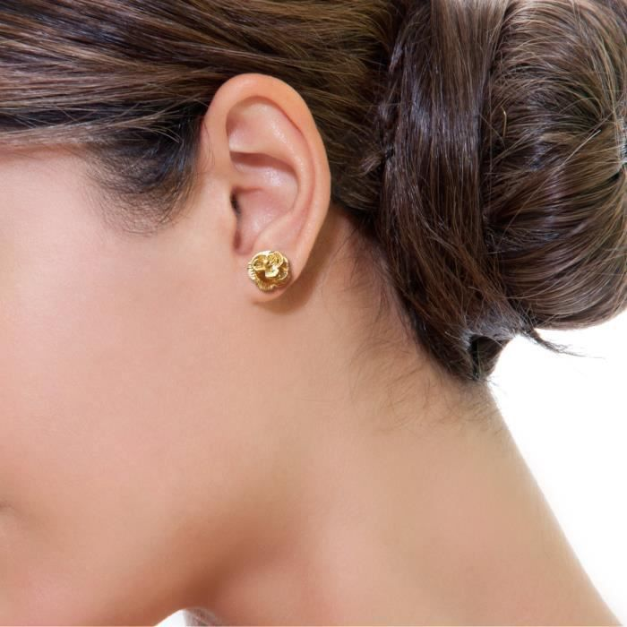 Womens Gold Plated Tiny Rose Flowers Studs Earrings HVNCO