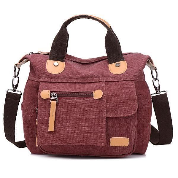 SBBKO2607WomenToileCasualGrandecapacitéfonctionnelle Multi Pocket Handbag Shoulder Bag Crossbody Bag Rouge Vineux