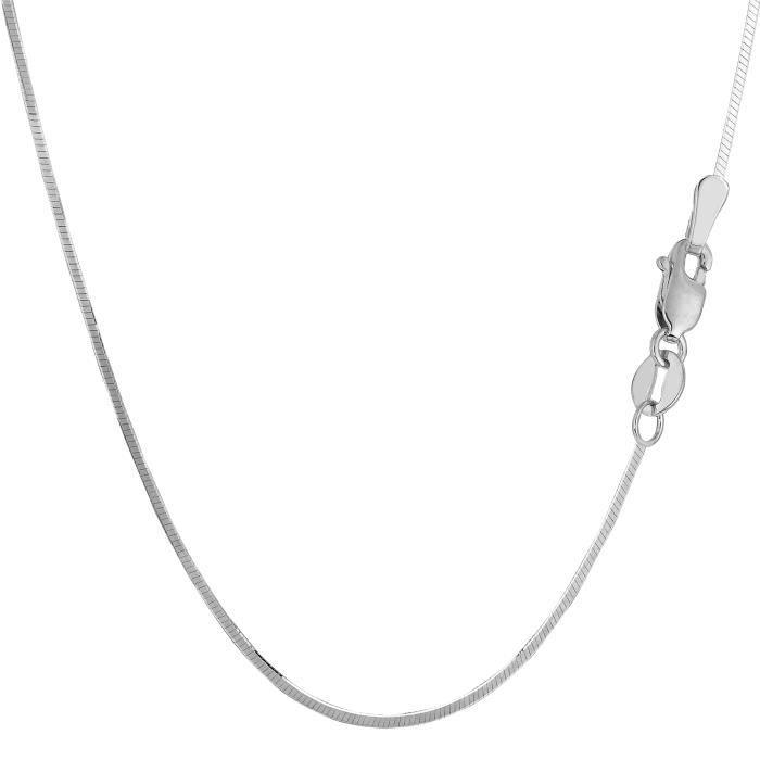 Chaîne- Argent sterling Rhodium plaqué octogonale SnakeNecklace, 1,4 mm, 18