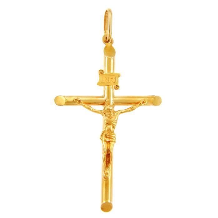 Collier Pendentif10 ct Or 471/1000 Croix et crucifixOr Crucifix Petit Collier Pendentif (vient avec une Chaîne de 45 cm)