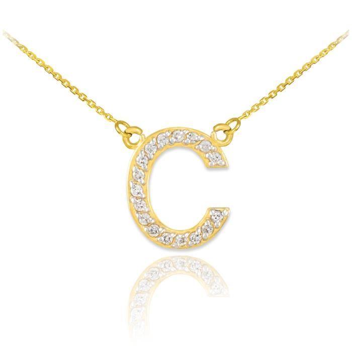 Pendentif 14 ct Or 585/1000lettre initiale deinitiale C Diamants