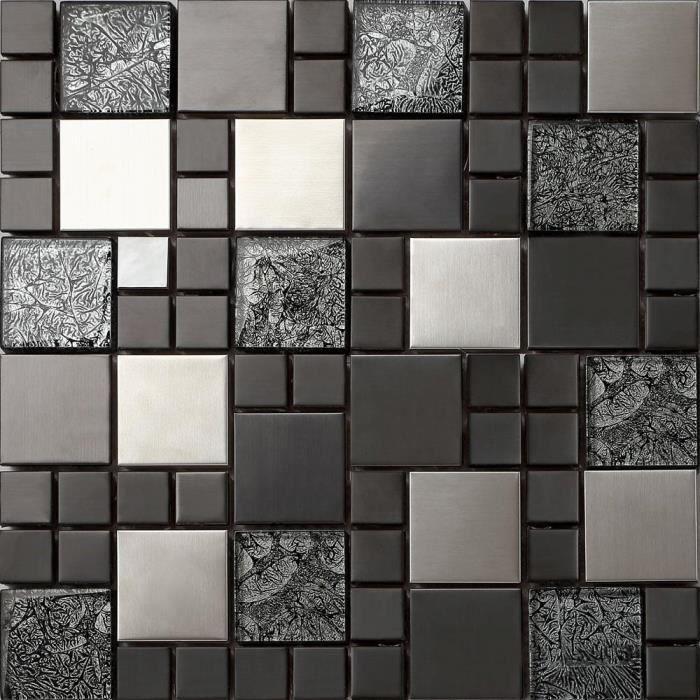 carrelage mosa que en verre et acier inoxydable noir argent 30x30cm mt0002 achat vente. Black Bedroom Furniture Sets. Home Design Ideas