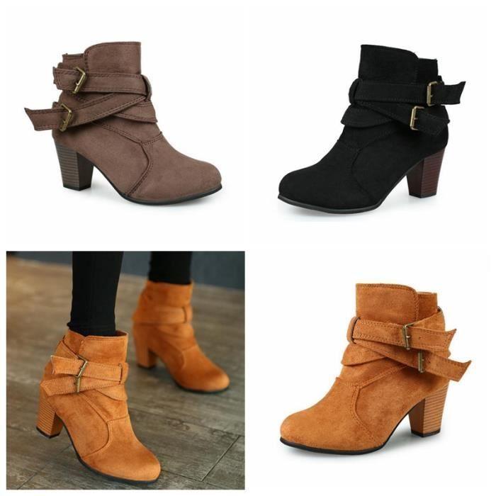 Boots Femme Talon Haut Bloc Suédine Boucles Bottes Classiques ... 0ab4b17f37ec