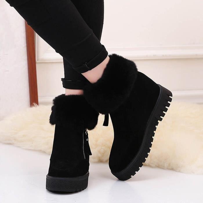 Femmes Bottes De Cheville Mode Flats Chaussures Occasionnelles Chaudes Suede Noir
