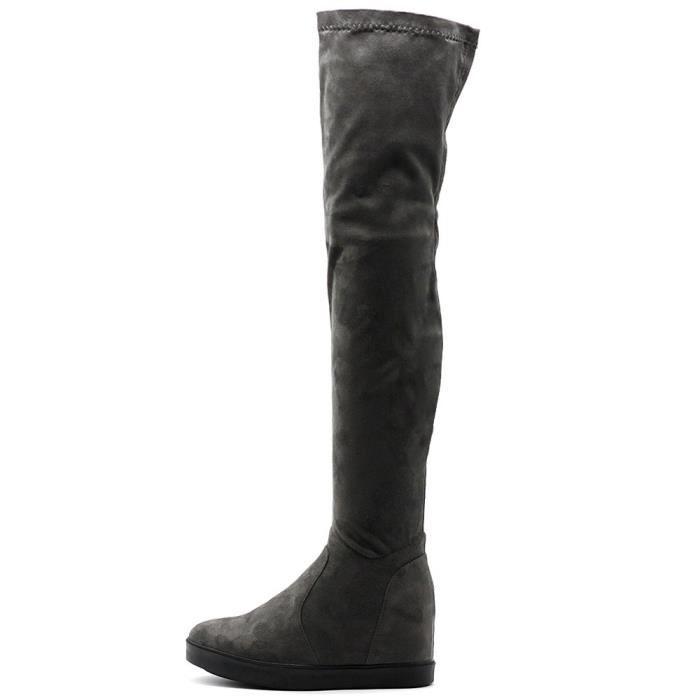 Chaussures stretch Faux Suede Cuissardes Plateau plat Bottes longues TZ5ES Taille-40