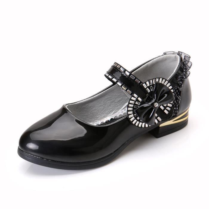 2018 printemps nouveau bowknot filles princesse chaussures chaussures à talons hauts chaussures d'étudiant dans les filles