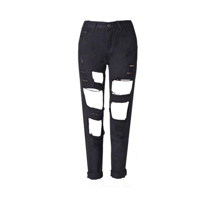 b60b3e2bfb8 Jeans femme déchiré droit Pantalon délavé modèle 1 Noir Noir - Achat ...