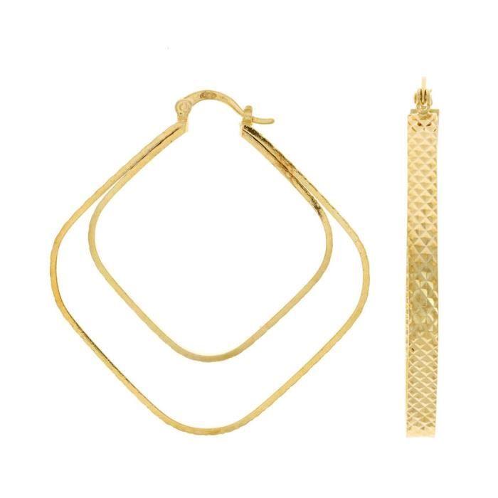 Boucles Doreilles Créoles design effet double anneaux Plaqué Or 18 Carats