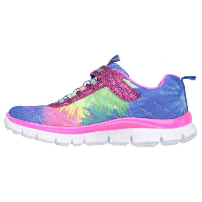 Skechers Baskets Fille Bleu Rose Scratch (28 - Fin - multicouleurs)