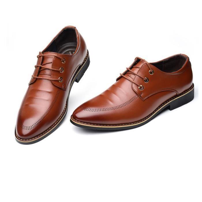 JOZSI Chaussures Hommes Cuir Confortable mode Homme chaussure de ville ZX-XZ196Marron38 Dh3p3yTgl