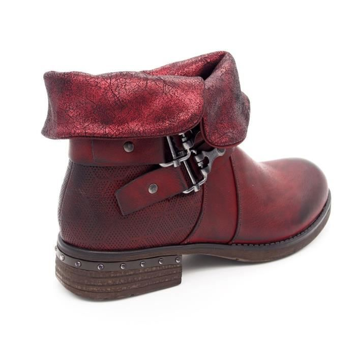 Chaussures Bottines boots vintage femme Bout rond Talon plat cuir synthétique Vw1m7KYe0