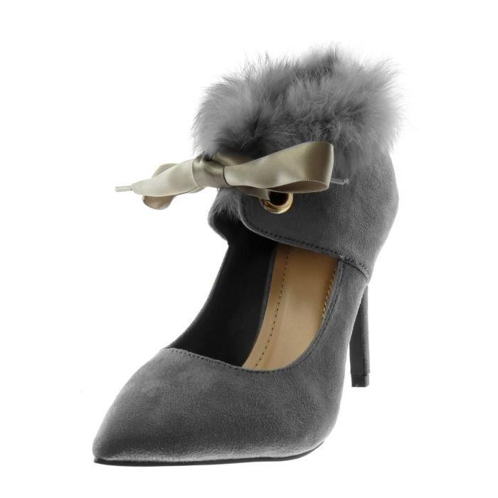 Angkorly - Chaussure Mode Escarpin Decolleté stiletto femme Lacet ruban satin fourrure Talon haut aiguille 10 CM - Gris - L2632 T 40