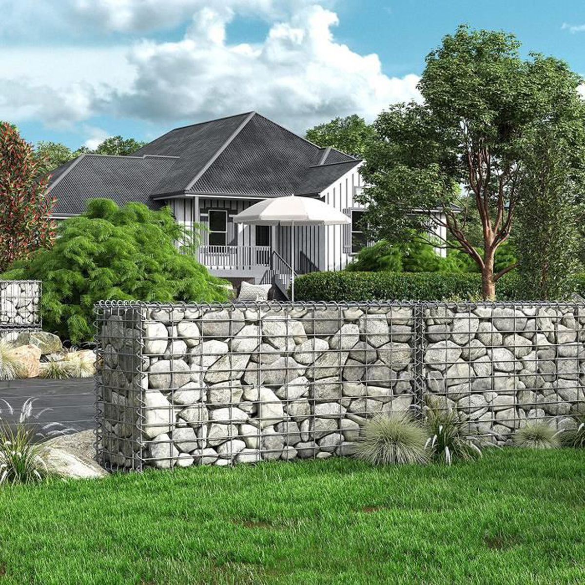 gabion pierre 100 x 50 x 30 cm base pour mur m tallique d co jardin cl ture d corative songmics. Black Bedroom Furniture Sets. Home Design Ideas
