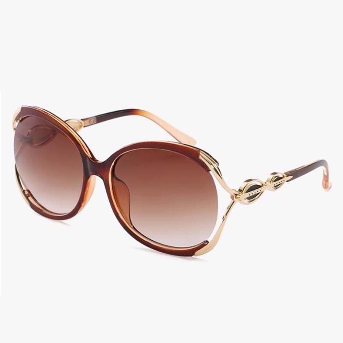 UV Lunettes de Soleil Carrées Lunettes Solaires Mode Vintage Aviator Sunglasses Surdimensionné Verres Ronds Monture Marron