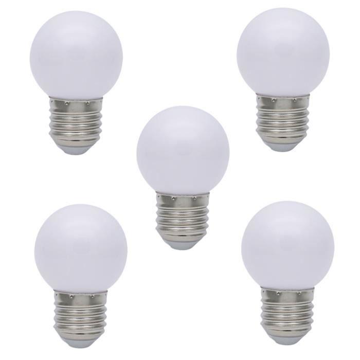 Lumière E27 Led 1w 5x Ampoules 45x70mm Couleur 240v Lumiere 220v D'énergie Noël Lampes Économie Ampoule De Blanc PkOn0w