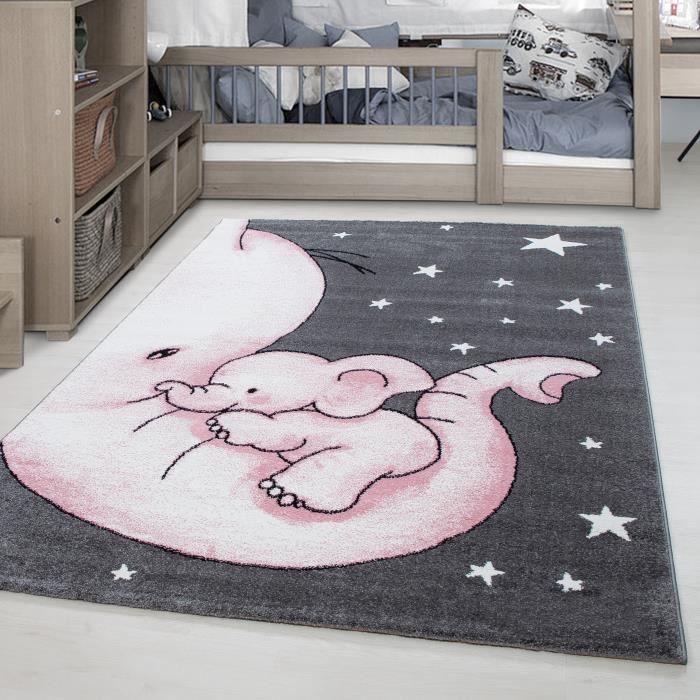 Tapis enfant Elephant Star motif enfants chambre bébé chambre gris rose  blanc [160 cm Rund]