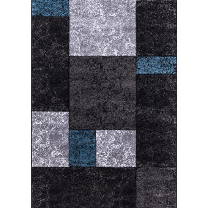 Tapis De Salon Lima Blanc Gris Noir 120x170 Cm Achat Vente Tapis