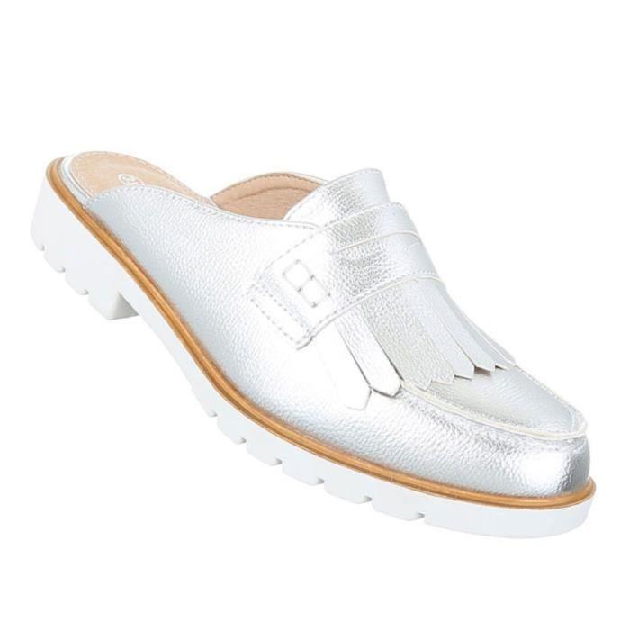 Femme sandales chaussures chaussures de plage chaussures d'été Pantoletten Slipper argent 36