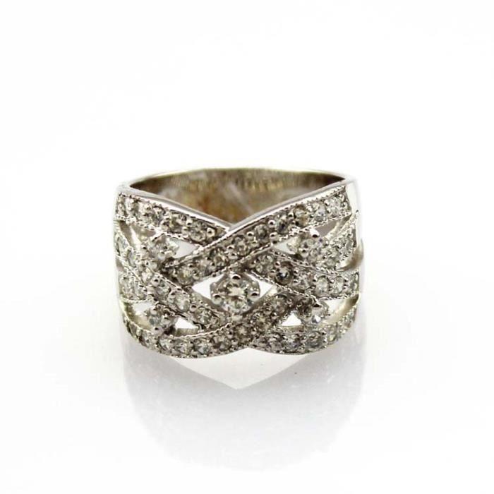 bijoux femme Or blanc plaqué Bague Argent 925 crossover Oxyde de Zirconium