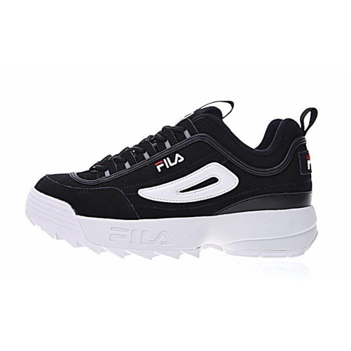baskets fila disruptor ii 2 low chaussures d contract es femme noir blanc noir noir achat. Black Bedroom Furniture Sets. Home Design Ideas