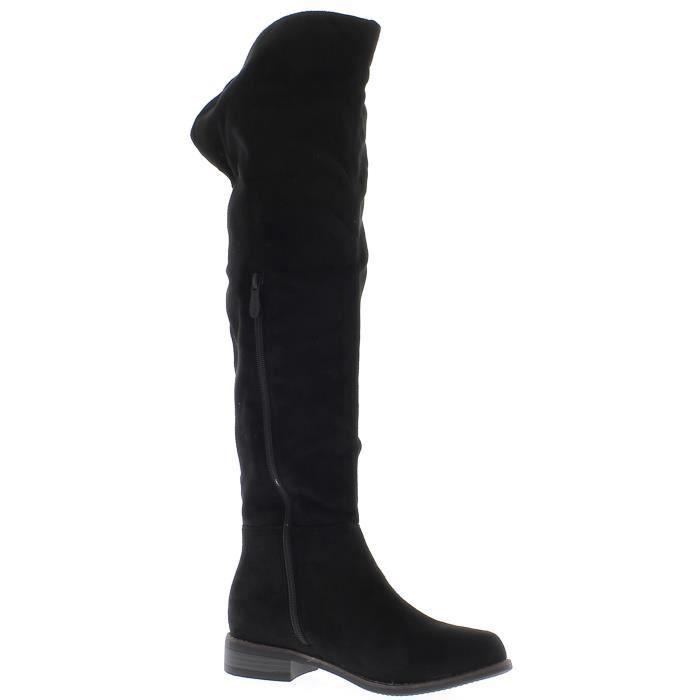 BOTTE Bottes femme hautes noires à talon de 3 cm look da