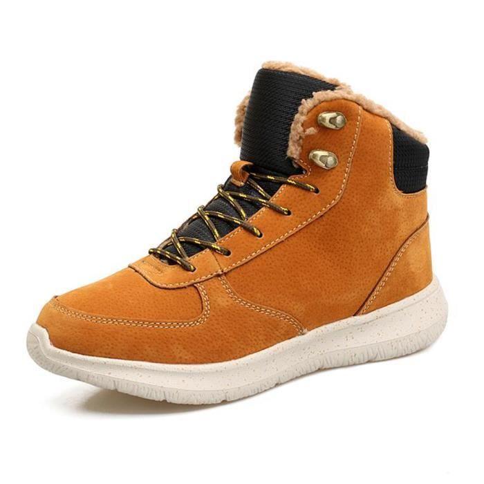 Hommes Bottes de Neige Imperméable Hommes Chaussures Hiver Cheville Bottes Fourrure Respirant Hommes Hiver Chaussures jaune 44