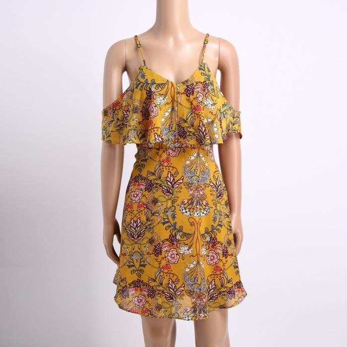 8061ac94eaf1 ... Napoulen®Mode femmes dames hors épaule imprimé longueur genou robe de  soirée lâche Jaune XXP71213294 ...