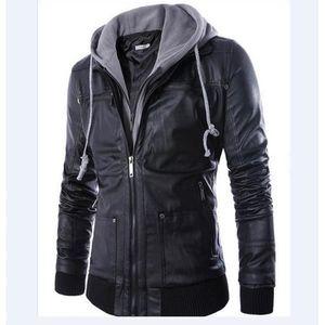 BLOUSON Hommes manteaux simili cuir PU noir avec capuchon 50df175b26c
