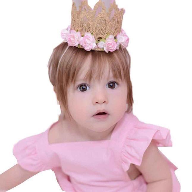 Napoulen Mode Fille Bebe Bandeau Elastique Fleur Couronne Dentelle