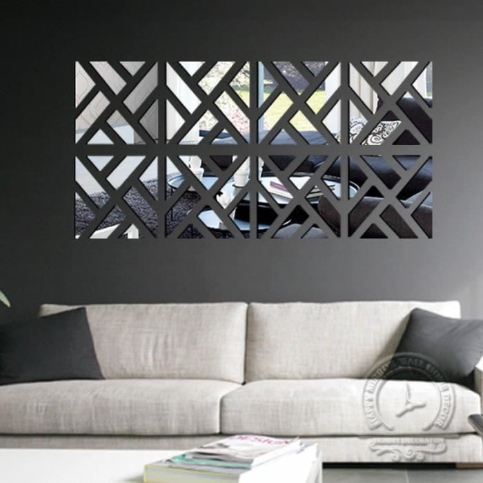 Décoration pour maison 3d surface du miroir de la miroir stickers muraux salon sticker décoratif mur maison decor 3 taille