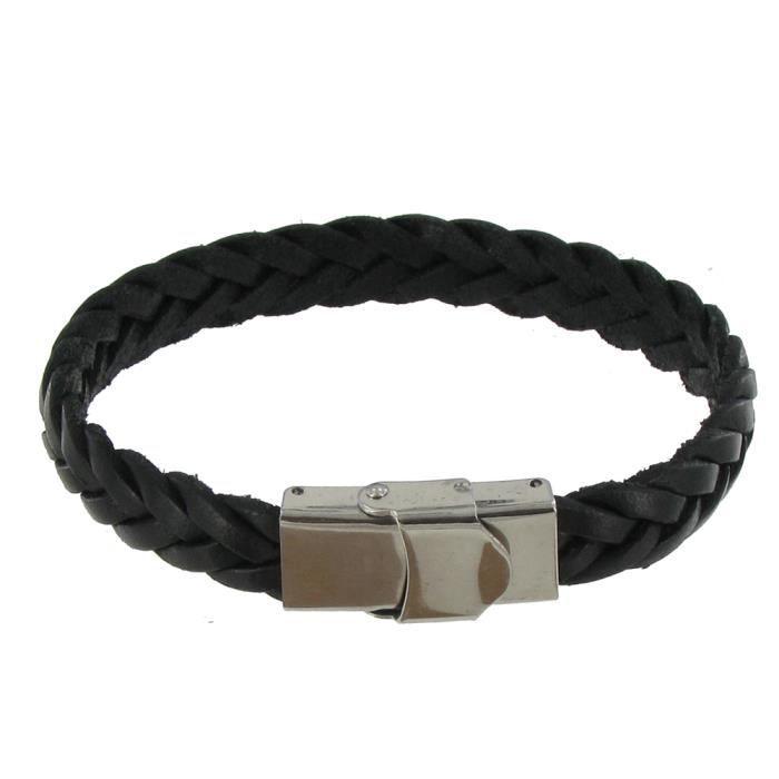 c6bd528ea325e Bracelet Homme Cuir Noir Tréssé Plat Fermoir Ac… - Achat   Vente ...