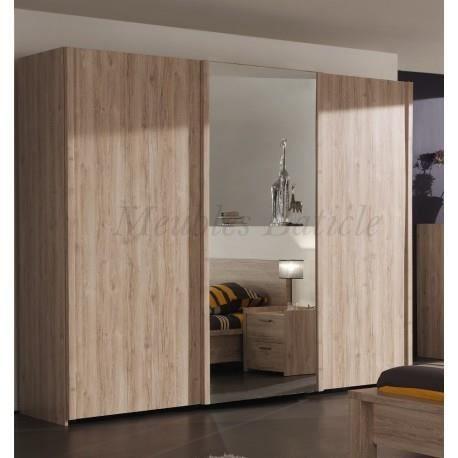 Armoire 3 portes coulissantes mona ch ne achat vente for Armoire 3 portes coulissantes miroir
