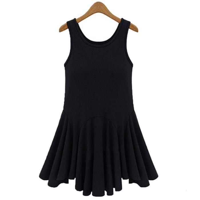 DEte Casual Mini Robe Femmes Sans Manches Lady Noir Coton Robes Tuniques 2017