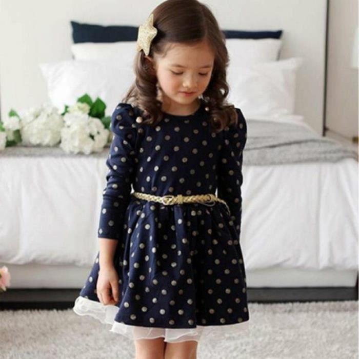 Aniverssaire Party enfants Filles dentelle Dot Vêtements Princesse Robes avec Ceinture