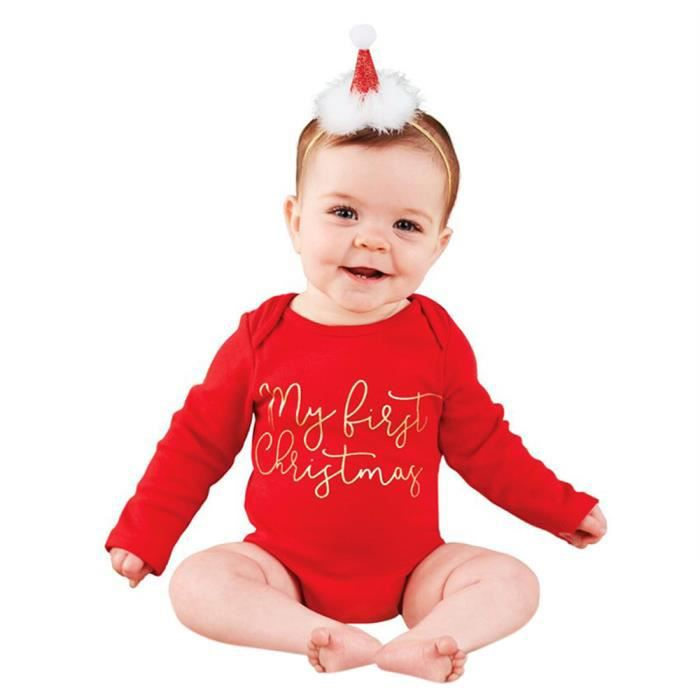 Noël Toddler Newborn Baby Boys Girls Lettre Rompers Jumpsuit Outfits
