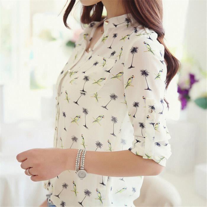 chemisier femmes Marque De Luxe chemise à manches longues Confortable  chemisiers et blouses femme Respirant ve dssyf004blancl 7ab565c5d0c