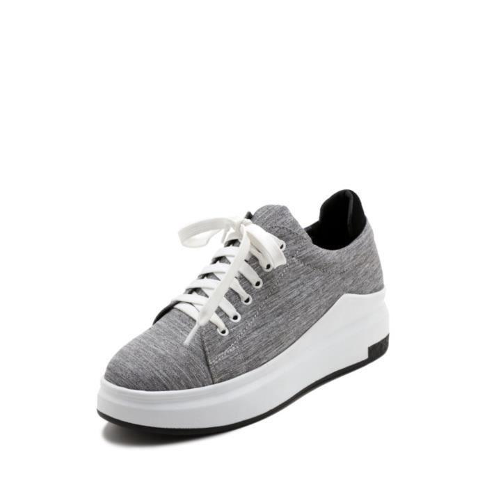 chaussures multisport Baskets femme lin métallisé naturel lacent Plate-forme Casual 3539650