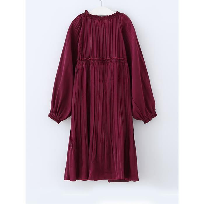 robe de fille manches lanterne couleur unie o robe décor volants cou