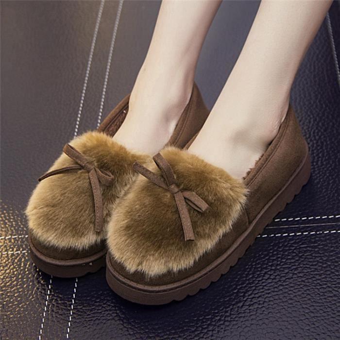 chaussures pantoufles en coton d'hiver semelles de coton arc chaud pantoufles épais dames mode pantoufles en,vin rouge,38